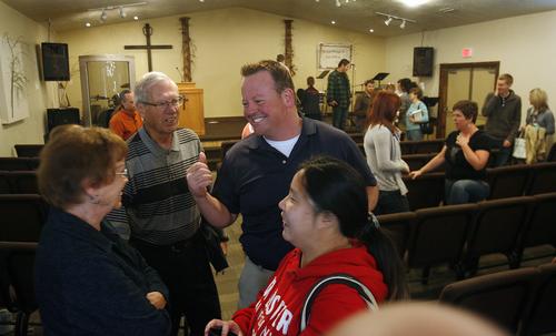 Scott Sommerdorf   |  The Salt Lake Tribune Former Utah legislator Carl Wimmer talks with fellow parishoners after Sunday services at Ephraim Church of the Bible on Sunday, Oct. 27, 2013.