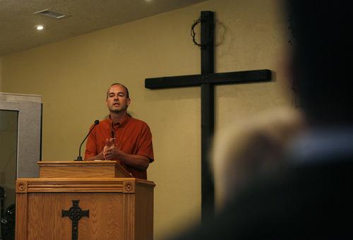 Scott Sommerdorf   |  The Salt Lake Tribune Pastor Rodney Zedicher delivers his sermon at Ephraim Church of the Bible on Sunday, Oct. 27, 2013. Former Utah legislator Carl Wimmer attends the small Christian church.