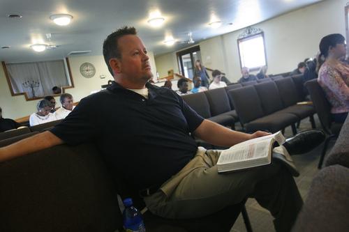 Scott Sommerdorf   |  The Salt Lake Tribune Former Utah legislator Carl Wimmer listens to Pastor Rodney Zedicher's sermon as he attends services at Ephraim Church of the Bible on Sunday, Oct. 27, 2013.