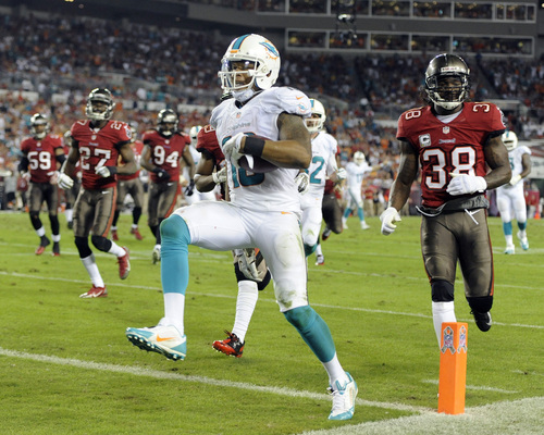 Miami Dolphins wide receiver Rishard Matthews (18) scores past the Tampa Bay Buccaneers defense on a 19-yard touchdown reception during the third quarter of an NFL football game Monday, Nov. 11, 2013, in Tampa, Fla. (AP Photo/Brian Blanco)