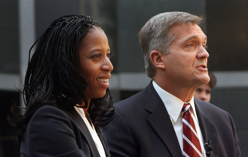 Steve Griffin | Tribune file photo  Jim Matheson and Mia Love may stage a rematch in the 2014 election for Utah's 4th Congressional District seat. This file photo from last year shows them during a campaign debate in that close contest.