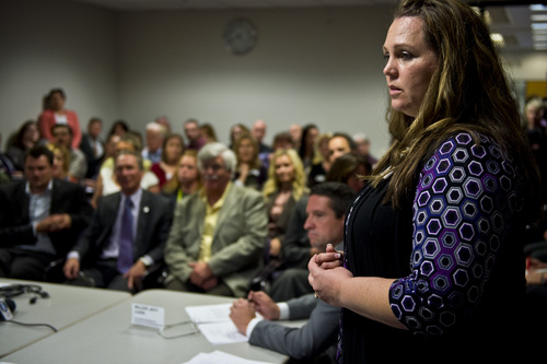 Chris Detrick  |  The Salt Lake Tribune Activist mom Jennifer May speaks to the Utah Controlled Substance Advisory Committee during a hearing at the Heber M. Wells Building in Salt Lake City Tuesday November 12, 2013.