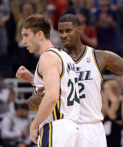 Steve Griffin  |  The Salt Lake Tribune   Utah Jazz power forward Marvin Williams #2 grabs Utah Jazz shooting guard Gordon Hayward #20 in the final seconds of the second half as the Jazz defeated the New Orleans Pelicans for their first victory of the season at EnergySolutions Arena in Salt Lake City, Utah Thursday, November 14, 2013.
