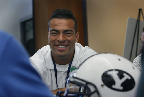 Scott Sommerdorf   |  The Salt Lake Tribune BYU LB Kyle Van Noy is interviewed during the school's annual football media day on Wednesday at the BYU Broadcasting building, Wednesday, June 26, 2013.