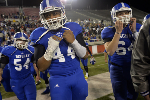 Chris Detrick  |  The Salt Lake Tribune Bingham's Sione Finefeuiaki (44) celebrates after the 5A semifinal game at Rice-Eccles Stadium Friday November 15, 2013. Bingham defeated Lone Peak 48-13.