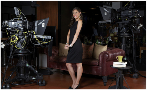 Courtesy photo Abby Huntsman wearing a Project Gravitas dress on the set of HuffPostLive.