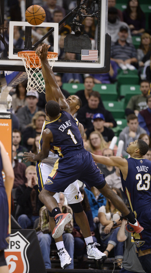 Steve Griffin  |  The Salt Lake Tribune   Utah Jazz power forward Marvin Williams #2 blocks a shot attempt by New Orleans Pelicans point guard Tyreke Evans during second half action in the Jazz versus New Orleans Pelicans basketball game at EnergySolutions Arena in Salt Lake City, Utah Thursday, November 14, 2013.