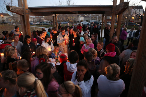 Francisco Kjolseth     The Salt Lake Tribune People gather in South Jordan at Firmont Park for a candelight vigil on Sunday, Nov. 17, 2013, in memory of Taylor Wheeler, 12, and Dayton Gessell, 15, after the two were found dead in a home in Daybreak on Friday.