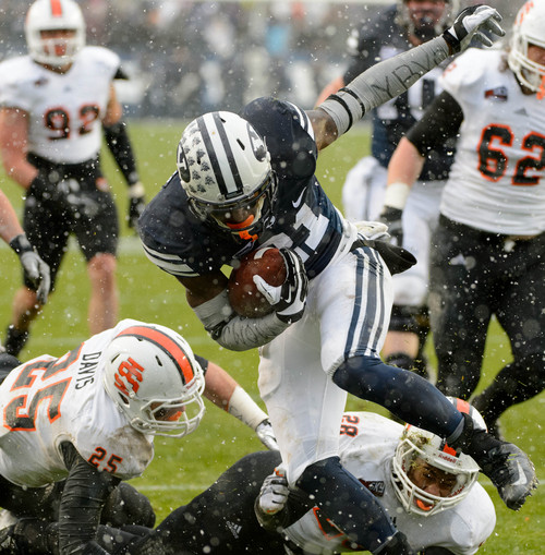 Trent Nelson     The Salt Lake Tribune Brigham Young Cougars running back Jamaal Williams (21) runs for a touchdown as BYU hosts Idaho State, college football at LaVell Edwards Stadium in Provo, Saturday November 16, 2013.