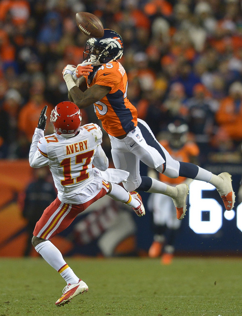 Denver Broncos cornerback Dominique Rodgers-Cromartie (45) breaks up a pass intended for Kansas City Chiefs wide receiver Donnie Avery (17) in the third quarter of an NFL football game, Sunday, Nov. 17, 2013, in Denver. (AP Photo/Jack Dempsey)