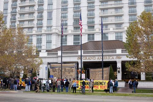 Jim McAuley | The Salt Lake Tribune Demonstrators gather to protest the Trans-Pacific Partnership talks at the Grand America Hotel in Salt Lake City on Tuesday, November 19, 2013.