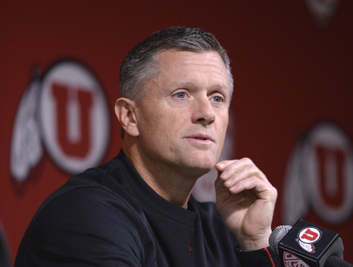 Al Hartmann  |  The Salt Lake Tribune University of Utah head football coach Kyle Whittingham announces in a press conference in Salt Lake City Monday November 18 that starting quarterback Travis Wilson was diagnosed with a concussion and will be out for the rest of the season.