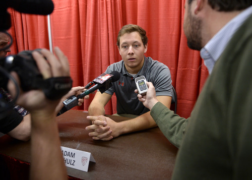 Al Hartmann  |  The Salt Lake Tribune University of Utah backup quarterback Adam Shulz speaks in press conference in Salt Lake City Monday November 18.   Starting quarterback Travis Wilson was diagnosed with a concussion and will be out for the rest of the season.