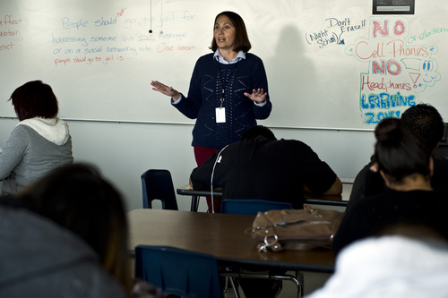 Chris Detrick  |  The Salt Lake Tribune Teacher Erin Newsome talks to the students in her language arts class at Horizonte Instruction and Training Center in Salt Lake City Tuesday November 12, 2013.