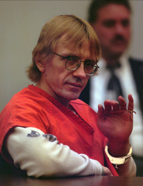 Avowed racist and convicted murderer Joseph Paul Franklin gestures while seated in the courtroom in Clayton, Mo., Thursday, Feb. 27, 1997. Franklin, who threatened to kill again if allowed to live, was sentenced to death for killing a man in a sniper shooting at a synagogue in 1977. The 46-year-old Franklin represented himself during the trial and had asked the all-white, all-male jury for the death sentence, thanking the court for a fair trail after the sentencing. (AP Photo/St. Louis Post-Dispatch)