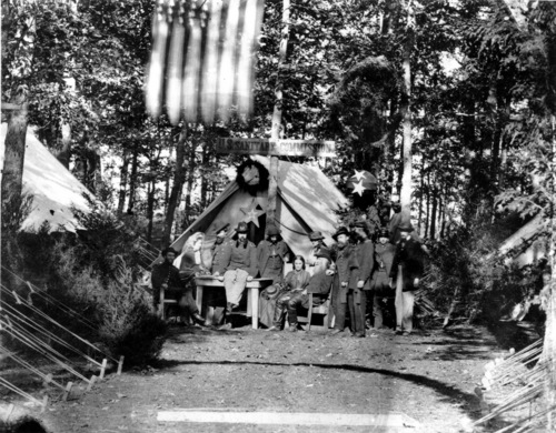 Members of the United States Sanitary Commission poses outside the tent during the Battle of Gettysburg in July 1863 during the American Civil War. The women and men are not indentified. (AP Photo)