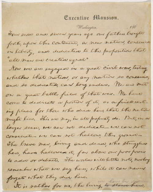 """ADVANCE FOR USE TUESDAY, NOV. 19, 2013 AND THEREAFTER - This undated image made available by the Library of Congress shows part of the """"Nicolay Copy"""" version of the five known drafts of President Abraham Lincoln's Nov. 19, 1863 speech in Gettysburg, Pa. Lincoln's Gettysburg Address was given at the dedication of a memorial cemetery at the battlefield site. (AP Photo/Library of Congress)"""