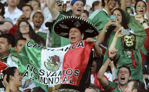 Mexican fans cheer in the World Cup soccer qualifier against New Zealand at Westpac Stadium in Wellington, New Zealand, Wednesday, Nov. 20, 2013. (AP Photo/SNPA, John Cowpland) NEW ZEALAND OUT