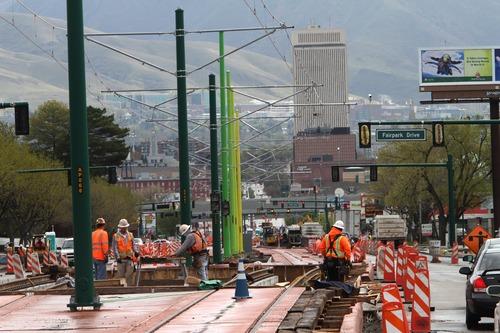 Rick Egan  | Tribune file photo TRAX construction along North Temple looking east in Salt Lake City.