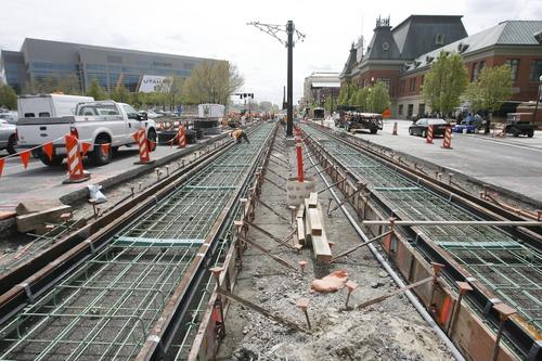 Rick Egan  | The Salt Lake Tribune  TRAX construction on 400 West.