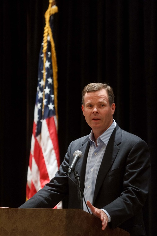 Trent Nelson  |  The Salt Lake Tribune Utah Attorney General candidate John Swallow speaks to Utah delegates at the Hilton Hotel at the beginning of the final day of the Republican National Convention in Tampa, Florida, Thursday, August 30, 2012.