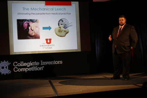 Courtesy of University of Utah Hospital Andy Thompson, team leader, presents a mechanical medical device that simulates a leech's bloodsucking at the Collegiate Inventors Competition in Washington, D.C.
