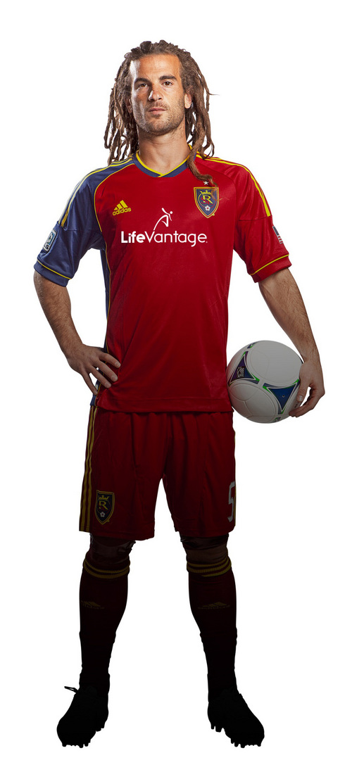Photo courtesy of RSL Real Salt Lake midfielder Kyle Beckerman wears a jersey with the new LifeVantage logo.