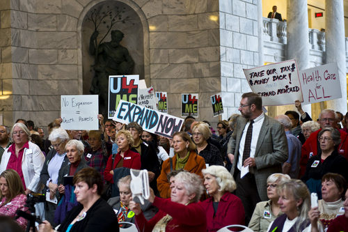 Chris Detrick     The Salt Lake Tribune Utahns for the Medicaid Expansion, faith leaders, nurses association members and members of the public participate during a rally at the State Capitol Wednesday November 20, 2013. Medicaid expansion advocates were trying to show Gov. Gary Herbert that they want him to expand the low-income health safety net.
