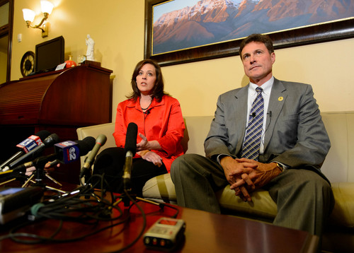 Trent Nelson  |  The Salt Lake Tribune Utah Speaker Becky Lockhart and Rep. James Dunnigan speak about Attorney General John Swallow's resignation, Thursday November 21, 2013 in Salt Lake City.