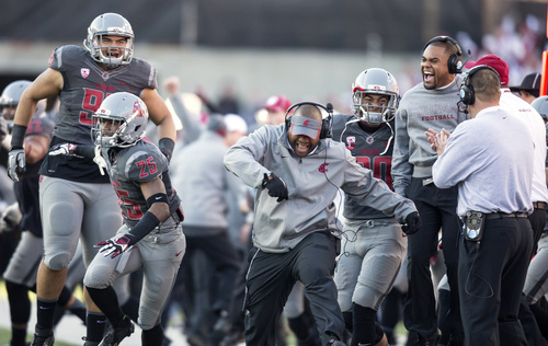 Washington State coaches and players celebrate as cornerback Damante Horton (not shown) returns a first quarter interception for a touchdown against Utah during the first half of an NCAA college football game on Saturday, Nov. 23, 2013, at Martin Stadium in Pullman, Wash. Washington State won 49-37. (AP Photo/Dean Hare)