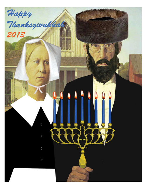 This image released by ModernTribe.com shows an American Gothic Thanksgivukkah Poster celebrating Thanksgiving and Hanukkah.  (AP Photo/ModernTribe.com)