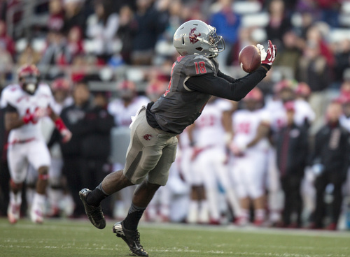 Washington State wide receiver Kristoff Williams (18) catches a pass from Connor Halliday during the first half of an NCAA college football game against Utah on Saturday, Nov. 23, 2013, at Martin Stadium in Pullman, Wash. (AP Photo/Dean Hare)