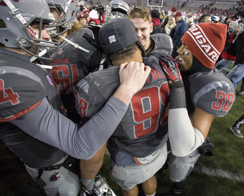 Washington State players (clockwise from left) Luke Falk (4), Cole Madison, Matthew Bock and Taylor Taliulu (30) congratulate nose tackle Kalafitoni Pole (98) after defeating Utah 49-37 in an NCAA college football game on Saturday, Nov. 23, 2013, in Pullman, Wash. (AP Photo/Dean Hare)