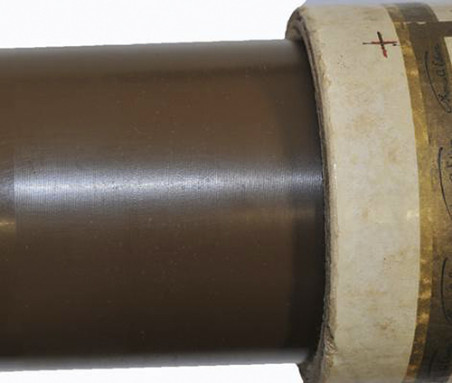 """This photo released Wednesday, Nov. 20, 2013 by the Saco River Auction Co., shows a wax-covered cylinder etched with an 1896 recording of the song, """"Who Broke the Lock (on the Hen House Door)?"""" by the Unique Quartet, which is up for auction in Biddeford, Maine. It is among the oldest known recordings by a black vocal group in the U.S. (AP Photo/Saco River Auction Co.)"""