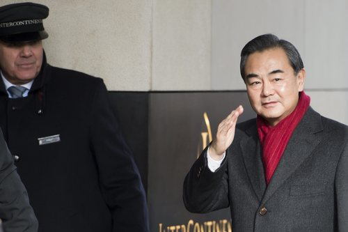 Chinese Foreign Minister Wang Yi, arrives at the Intercontinental Hotel prior to talks  on Iran's nuclear program  in Geneva, Switzerland, Saturday, Nov. 23, 2013. U.S. Secretary of State John Kerry and five foreign ministers joined Iran nuclear talks Saturday, cautioning there were no guarantees their participation would be enough to seal a deal to curb Tehran's atomic program. The goal is a six-month agreement to freeze Iran's nuclear program while offering Iran incentives through limited sanctions relief. If the interim deal holds, the parties would negotiate final stage deals to ensure Iran does not build nuclear weapons. (AP Photo/Keystone,Jean-Christophe Bott)
