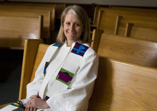 Keith Johnson  |  The Salt Lake Tribune The Rev. Erin Gilmore, shown at the Holladay United Church of Christ on Tuesday, is leaving the church after 10 years to take a position in Colorado. She has been a strong voice for the LGBT community.