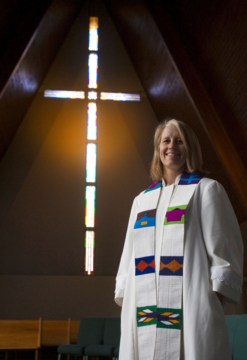 Keith Johnson | The Salt Lake Tribune The Rev. Erin Gilmore at the Holladay United Church of Christ on Nov. 19, 2013. Gilmore is leaving the Holladay church after 10 years to take a position in Colorado. She has been a strong voice for the LGBT community.
