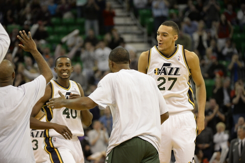 Rick Egan    The Salt Lake Tribune   Utah Jazz small forward Jeremy Evans (40) and Utah Jazz center Rudy Gobert (27) celebrate after Evans hit a big basket to put the Jazz up by 5 in Overime, in the the 89-83 Jazz win in over time, in NBA action, as the Jazz faced the Chicago Bulls, at the EnergySolutions Arena, Monday, November 25, 2013.