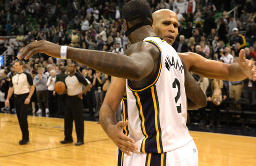 Rick Egan    The Salt Lake Tribune   Utah Jazz power forward Marvin Williams (2) and Utah Jazz small forward Richard Jefferson (24) celebrate the 89-83 Jazz win in over tie, in NBA action, as the Jazz faced the Chicago Bulls, at the EnergySolutions Arena, Monday, November 25, 2013.