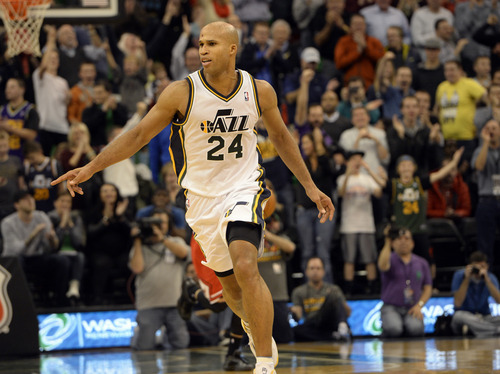 Rick Egan    The Salt Lake Tribune   Utah Jazz small forward Richard Jefferson (24) runs back down court after hitting a shot to put the Jazz up 87-80, with12.5 seconds left in overtime, in NBA action, as the Jazz faced the Chicago Bulls, at the EnergySolutions Arena, Monday, November 25, 2013.