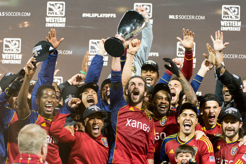 Trent Nelson     The Salt Lake Tribune Real Salt Lake players celebrate their win over the Portland Timbers, MLS soccer Sunday November 24, 2013, in Portland.