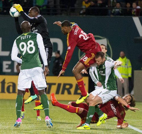 Trent Nelson     The Salt Lake Tribune Portland's Donovan Ricketts (1) makes a save as Real Salt Lake faces the Portland Timbers, MLS soccer Sunday November 24, 2013 in Portland.