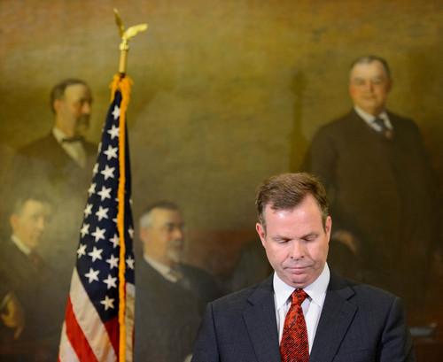 Trent Nelson  |  The Salt Lake Tribune Utah Attorney General John Swallow announces his resignation, Thursday November 21, 2013 in Salt Lake City.