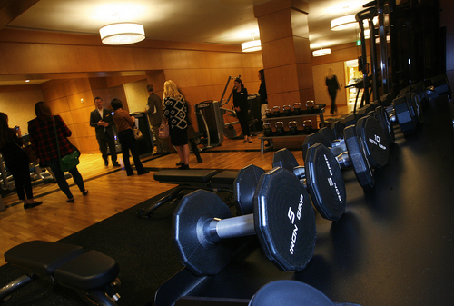 Scott Sommerdorf   |  The Salt Lake Tribune The exercise room at the Grand Spa at the Grand America Hotel is shown during a tour introducing the remodeled space on November 13. Parts of the spa flooded Friday after a pipe broke, causing the spa to be closed over the weekend.