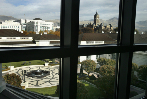 Scott Sommerdorf   |  The Salt Lake Tribune The view through one of the north-facing windows from the indoor pool of the recently remodeled Grand Spa at the Grand America Hotel in Salt Lake City.
