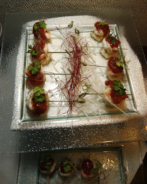 Scott Sommerdorf   |  The Salt Lake Tribune A shrimp appetizer served in the couples spa waiting area of the recently remodeled Grand Spa at the Grand America Hotel in Salt Lake City.
