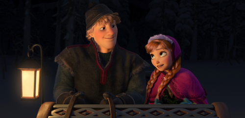 """This image released by Disney shows Kristoff, voiced by Jonathan Groff, left, and Anna, voiced by Kristen Bell, in a scene from the animated feature """"Frozen."""" (AP Photo/Disney)"""