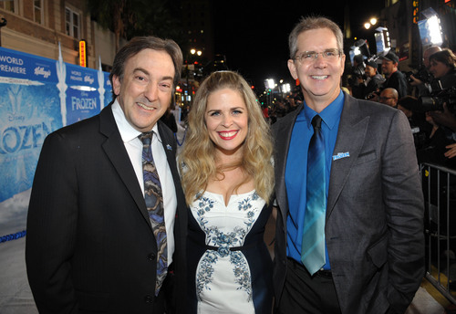 """From left, producer Peter Del Vecho, and directors Jennifer Lee and Chris Buck attend the world premiere of """"Frozen,"""" on Tuesday, Nov. 19, 2013, in Los Angeles. (Photo by John Shearer/Invision/AP)"""