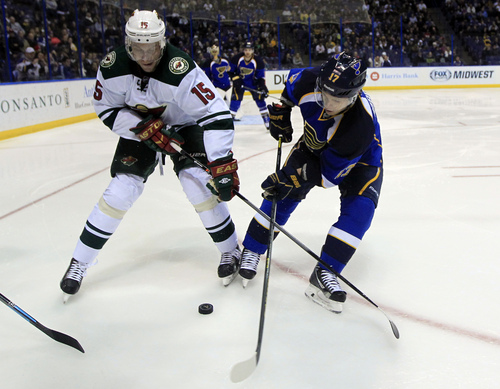 Minnesota Wild's Dany Heatley, left, and St. Louis Blues' Vladimir Sobotka, of the Czech Republic, reach for a loose puck during the third period of an NHL hockey game Monday, Nov. 25, 2013, in St. Louis. The Blues won 3-0. (AP Photo/Jeff Roberson)