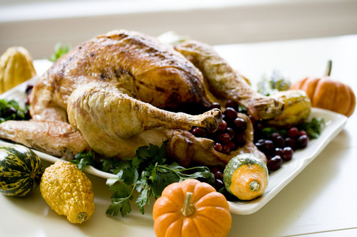 "This Oct. 21, 2013 photo shows a ""back to basics"" turkey in Concord, N.H. The recipe is so basic, it calls for just four ingredients. (AP Photo/Matthew Mead)"